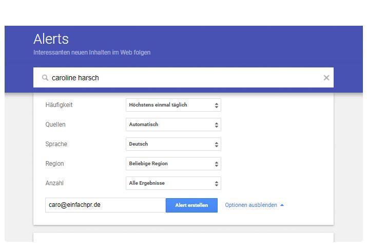 Medienbeobachtung Google Alerts einrichten