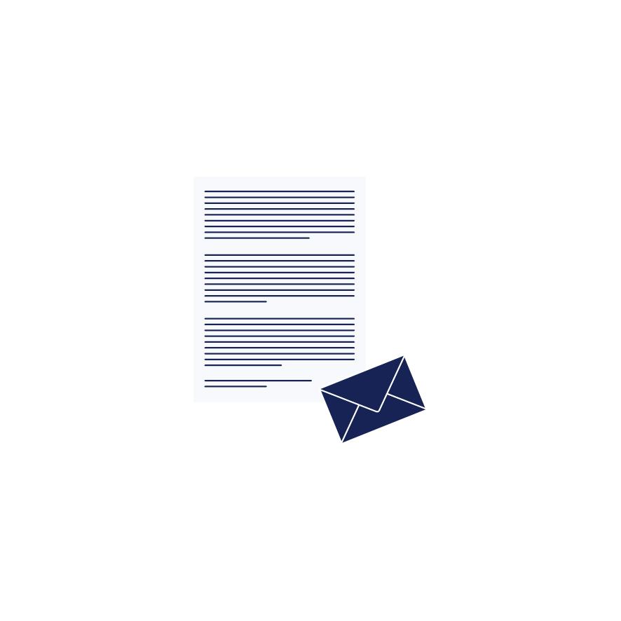 Text mit Briefumschlag