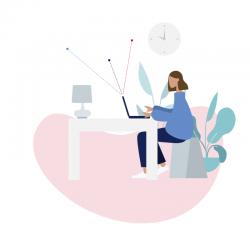 Illustration einer Frau, die am Laptop arbeitet